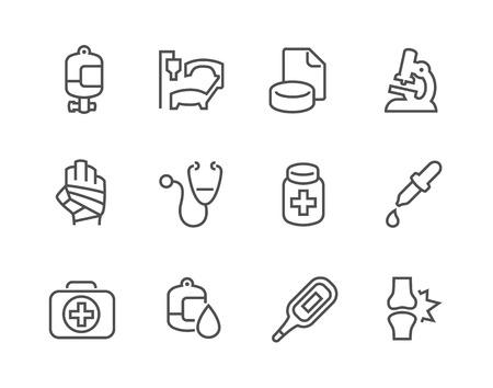 Eenvoudige set van Medische Betrokken Vector pictogrammen voor uw ontwerp. Stock Illustratie