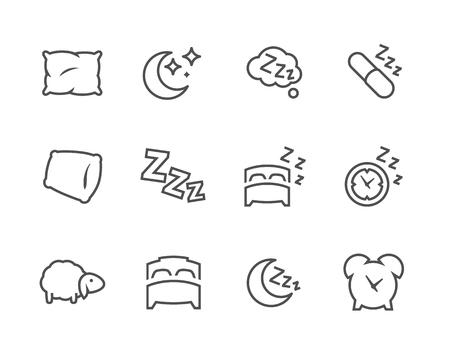 Eenvoudige set van slaap gerelateerde Vector iconen voor uw ontwerp. Stock Illustratie