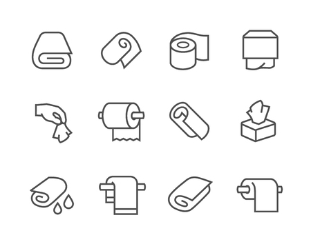 wet cleaning: Simple Set of Towels and Napkins Related Vector Icons for Your Design.