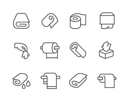 Simples de toallas y servilletas relacionadas iconos vectoriales para su diseño. Foto de archivo - 47185272