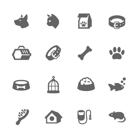 귀하의 설계를위한 애완 동물 관련 벡터 아이콘의 간단한 설정합니다. 일러스트