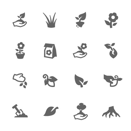 lawn: Simple Set of Growing Plants Related Vector Icons for Your Design. Illustration