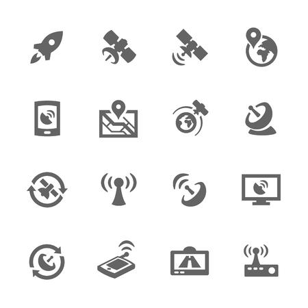 antena parabolica: Simple conjunto de iconos relacionados con los satélites vectorial para su diseño.
