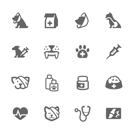 Simple Set of Pet Vet Related Vector Icons for Your Design. Çizim