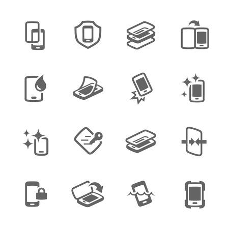 Semplice insieme di smart phone di copertura correlate icone vettoriali per la progettazione. Archivio Fotografico - 48238090