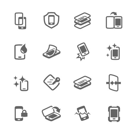 scratches: Simple Set of Smart Phone Cover Related Vector Icons for Your Design.