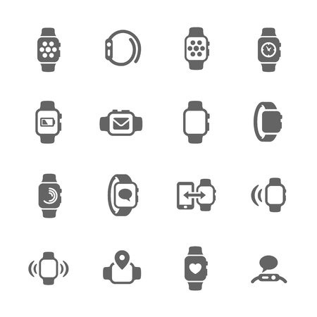 mobile phone: Simple Set of Smart Watch Related Vector Icons for Your Design