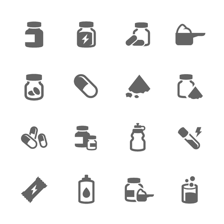 supplements: Simple Set of Sport Supplements Related Vector Icons for Your Design.