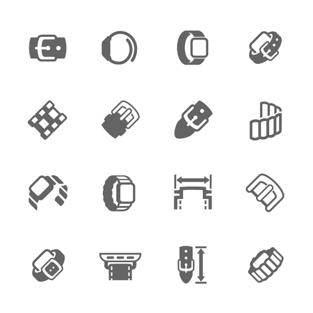 wristband: Simple Set of Watch Band Related Vector Icons for Your Design. Illustration