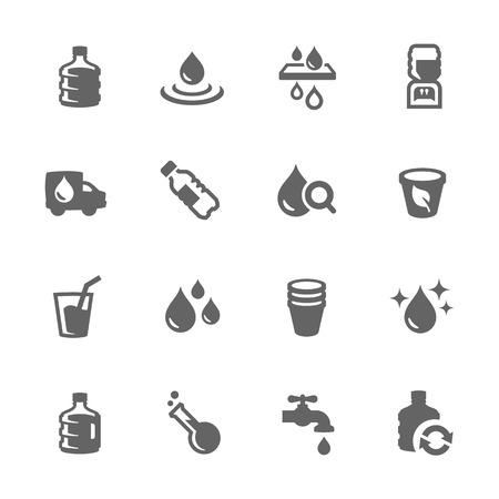 simbolo: Semplice insieme di acqua vettoriale connessi icone per la progettazione. Vettoriali