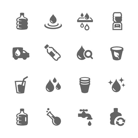 agua purificada: Simples de agua conectada con los iconos del vector para su dise�o.