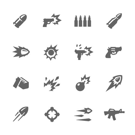 Simple Set of Weapon Related Vector Icons for Your Design.