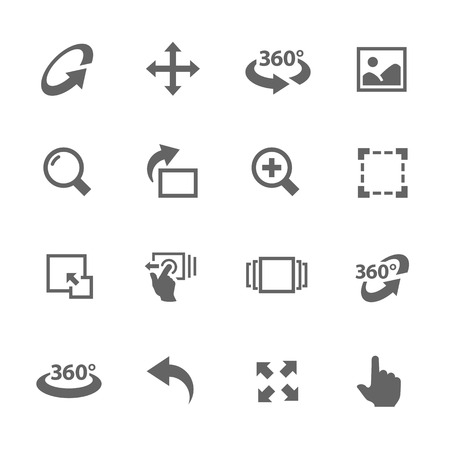 Simple Icons Set with Gray Design Elements of Image Manipulations, Scrolling, Rotating, Zooming, Expanding and more.