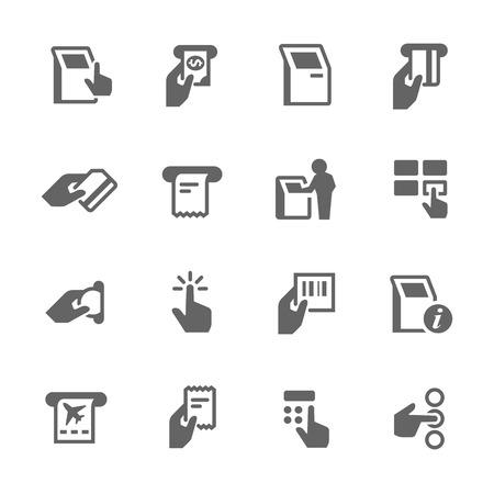 Eenvoudige set van Kiosk Terminal gerelateerde vector iconen. Bevat zoals iconen als het kiezen van opties, krijgt recept, het afdrukken van tickets en meer.