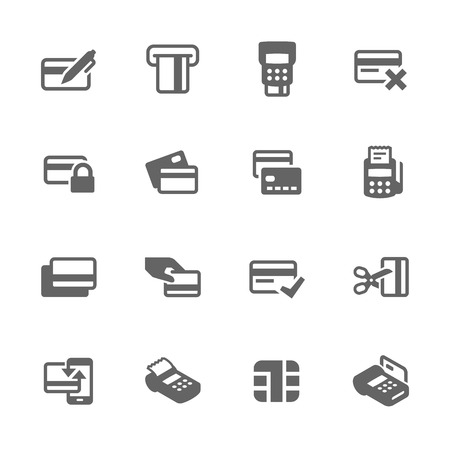 banking and finance: Simple Set of Credit Cards Related Vector Icons. Contains such icons as payment, chip, security, transactions and more.