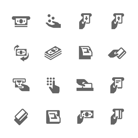 Simple Set of ATM Related Vector Icons. Contains such icons as money, ATM machine, sliding card icon and more.