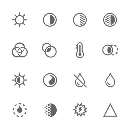 Set simple d'édition d'image connexes icônes vectorielles. Contient des icônes telles que le filtre, la luminosité et plus.