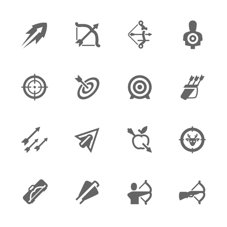 Simple Set of Bows and Arrows Related Vector Icons. Contains such icons as bow, targeting, arrow tips and more.