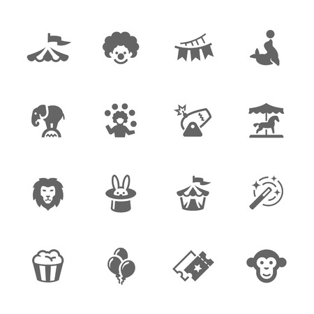 Simple Set of Circus Related Vector Icons. Contains such icons as circus tent, wild animals, balloons, carousel and more.