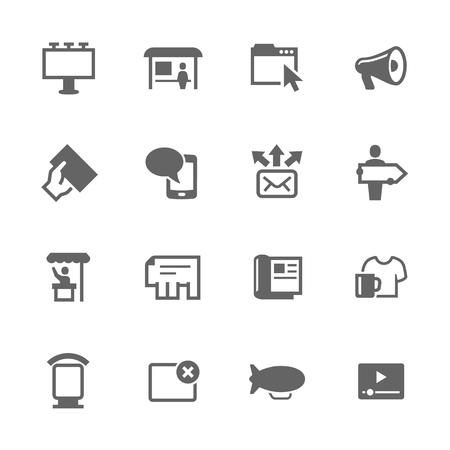 webbanner: Simple Set of Advertisement Related Vector Icons. Contains such icons as magazine, billboard, web-banner and more. Illustration