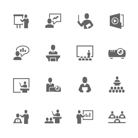 Simple Set of Business Presentation Related Vector Icons. Contains such icons as presentation, slide show, teacher, graph and more. Çizim