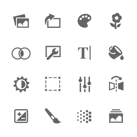 contrasts: Simple Set of Image Settings Related Vector Icons. Contains Such Icons as Image Gallery, Settings, Adjust and more. Illustration