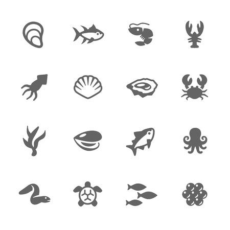 Simples de Sea Food relacionadas vectores iconos. Contiene tales iconos como ostras, cangrejo, cáscara del mar y más. Ilustración de vector