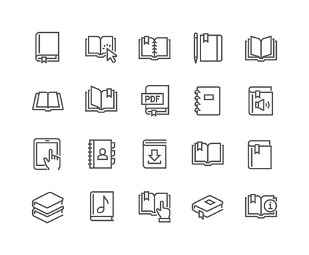 Simple Set of Book Related Line Icons. Contains such Icons as Organizer, Learning, E-Reader, Audio book and more.  Editable Stroke. 48x48 Pixel Perfect.