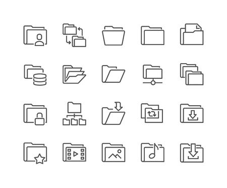 폴더 관련 라인 아이콘의 간단한 설정합니다. 저장소, 동기화, 네트워크 폴더 및 더 많은 같은 아이콘이 포함되어 있습니다. 일러스트