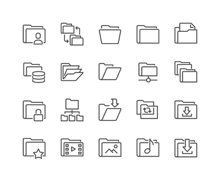 Simple Set of Folders Related Line Icons. Contains such Icons as Repository, Sync, Network Folder and more. Ilustração