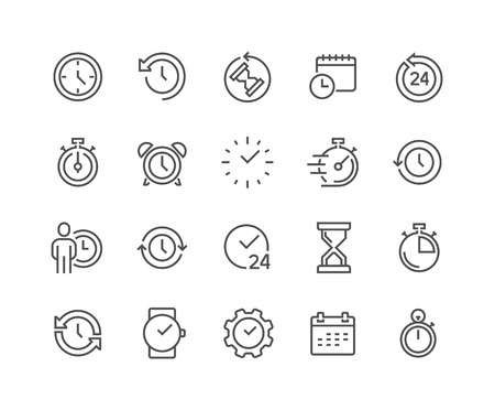 Simple Set of Time Related Line Icons. Contains such Icons as Timer, Speed, Alarm, Restore, Time Management, Calendar and more. Editable Stroke. 48x48 Pixel Perfect.