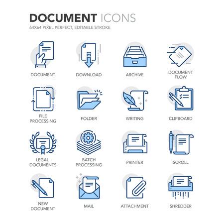 Einfache Set von Document Related Color Line Icons. Enthält Ikonen wie Stapelverarbeitung, juristische Dokumente, Zwischenablage, herunterladen, Dokumentenfluss und vieles mehr.