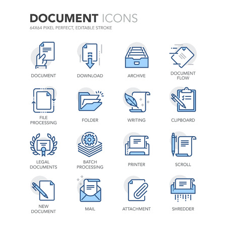 Simples de color Documento relacionados Línea iconos. Contiene iconos tales como el procesamiento por lotes, documentos legales, Portapapeles, Descarga, flujo de documentos y más. Foto de archivo - 57800311