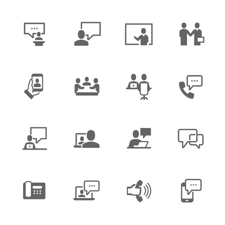 conference call: Simple Set of Business Communication Related Icons. Contains Such Icons as Meeting, Conference call, One on one, Handshake and More.