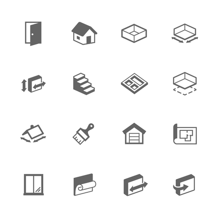 second floor: Simple Set of Building House Related Icons. Contains Such Icons as Room Size, Basement, House, Wallpaper and More. Illustration