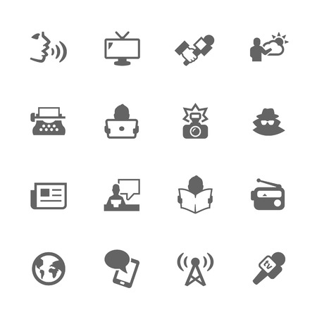 news flash: Simple Set of News Related Icons. Contains Such Icons as Reporter, Agent, Interview, Radio, Voice, News paper and More. Illustration