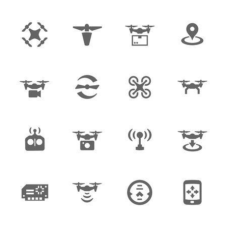 Simple Set of Drone Related Icons. Contains Such Icons as Quadrocopter, Rotor, Radio Antena, Landing, Remote Control and More. Illustration