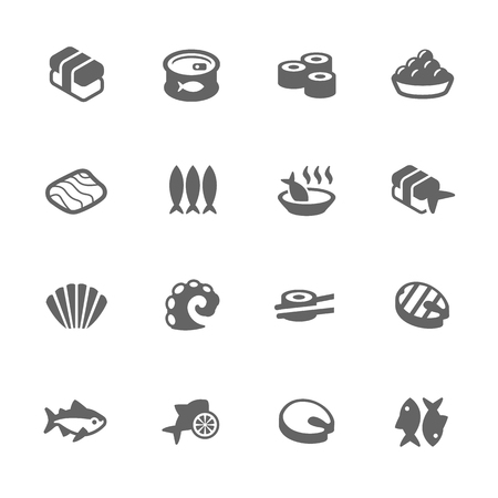 fish clipart: Simple Set of Sea Food Related Icons. Contains Such Icons as Fish, Caviar, Salmon, Sushi and More. Illustration
