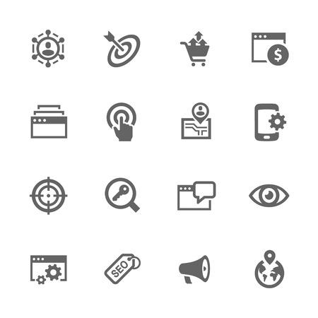 Eenvoudige set van SEO gerelateerde pictogrammen. Bevat iconen als omzet verhogen, Site Optimalisatie, Social Network en nog veel meer. Stock Illustratie