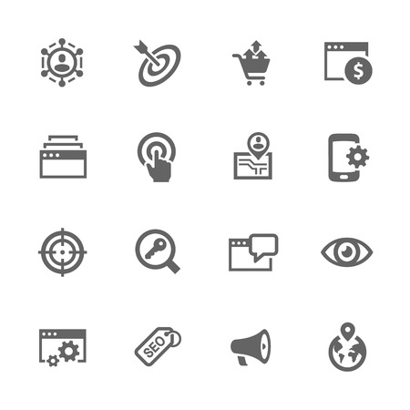 Simple Set of SEO Related Icons. Contains Such Icons as Increase Sales, Site Optimization, Social Network and More.