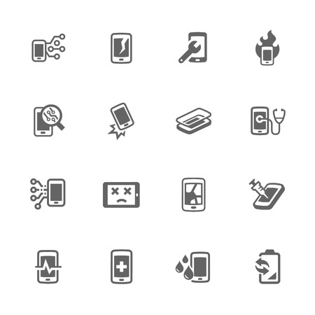 broken telephone: Simple Set of Smart Phone Repair Related Icons. Contains Such Icons as Screen Crack, Protective Glass, Battery Replacement, Diagnose and More.