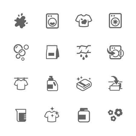 bleach: Simple Set of Laundry Related Icons. Contains Such Icons as Detergent, Spot, drying and More. Illustration