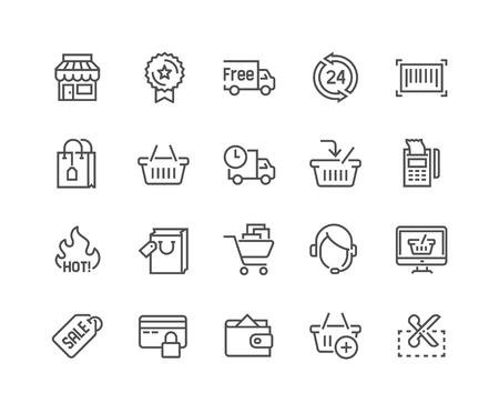 Set semplice di icone di linea correlate all'acquisto. Contiene tali icone come negozio, consegna, shopping bag, vendita, portafoglio, supporto online e altro ancora. Stroke modificabile. 48x48 pixel perfetto. Vettoriali