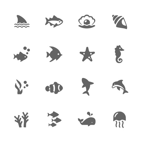 perl: Simple Set of Marine Life Related Icons. Contains Such Icons as Seahorse, Fish Flock, Perl and More.