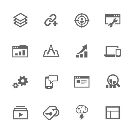 business icon: Simple Set of SEO Related Icons. Contains Such Search Optimisation, Links, Settings and More.
