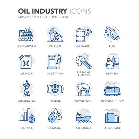 Simple Set of Oil Industry Related Color Vector Line Icons. Фото со стока - 59925630