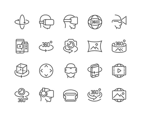 Simple Set of 360 Degree Image and Video Related Vector Line Icons. Vettoriali
