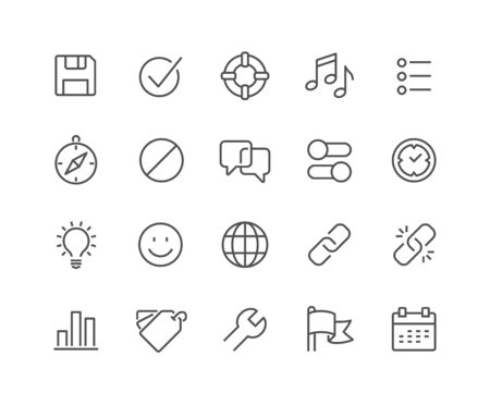 48x48: Simple Set of Interface Related Vector Line Icons. Contains such Icons as Settings, Help, Media, Links, Tags and more. Editable Stroke. 48x48 Pixel Perfect.