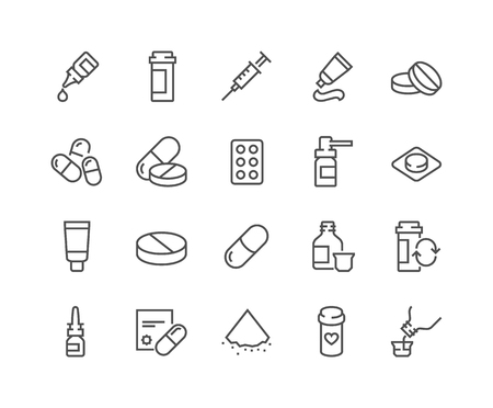 48x48: Simple Set of Pills Related Vector Line Icons. Contains such Icons as Gel, Inhaler, Prescription, Syrup and more. Editable Stroke. 48x48 Pixel Perfect.
