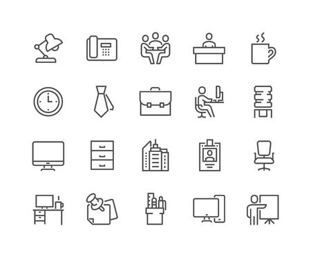 오피스 관련 벡터 라인 아이콘의 간단한 설정합니다. 비즈니스 회의, 작업장, 사무실 건물, 리셉션 데스크 및 더 많은 같은 아이콘이 포함되어 있습니